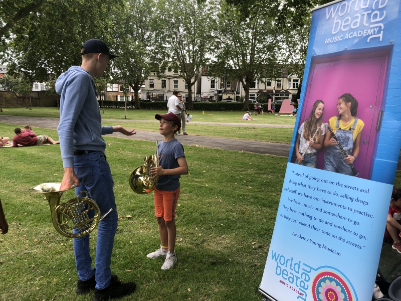 Come and try an instrument!' Gazebo – Coronation Gardens | World