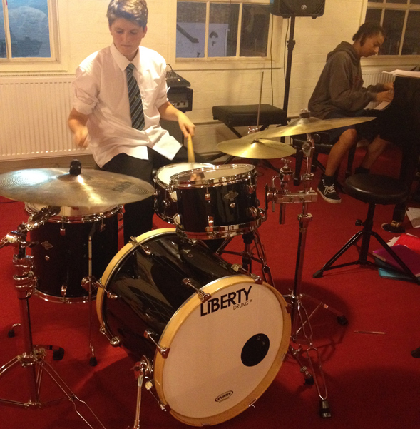 Wilf playing the new Liberty Drums kit